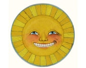 Sunshine Face Anthropomorphic Sun Sculpture Original Hand Painted Folk Art OOAK