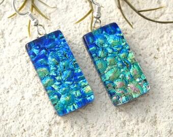 Golden Green Blue Earrings, Dichroic Earrings, Dichroic Jewelry, Dangle Drop Earrings, Fused Glass Sterling Earrings, ccvalenzo, 072017e105