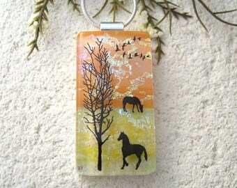 Horse Necklace, Fused Glass Jewelry, Dichroic  Pendant, Dichroic Glass Jewelry, Equestrian Jewelry, OOAK Pendant, ccvalenzo, 092817p100