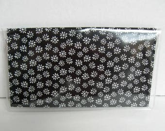 Tiny Floral Checkbook Cover -  Cash Holder - Works with Duplicate Checks - Black and White Flowers - Checkbook Holder