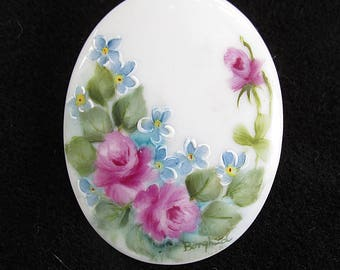 Porcelain Brooch Hand Painted Pin Signed Borghild