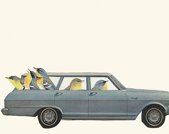 Warbling all the way.  Collage print by Vivienne Strauss.