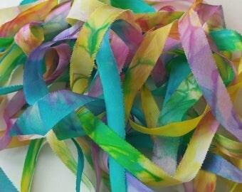 "Silk Ribbon, Hand Dyed Watercolour Rainbow : Heart of the Rainbow (rainbow, 100% silk, 13 mm/ 0.5"" wide, 6 yards OR custom length)  BIAS CUT"