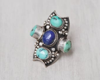 Vintage BIG Tribal Statement Ring - 925 sterling silver turquoise lapis lazuli saddle ring - made in Nepal or Tibet - Size 8.75
