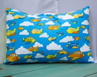 Airplanes  Pillowcase - fits 13 x 18 Travel or Toddler Pillow