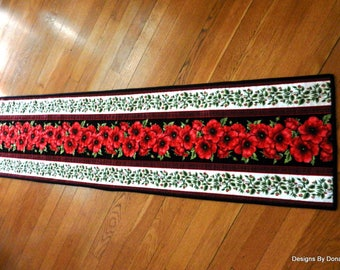Quilted Reversible Table Runner, Table Quilt, Large Red Poppies on Black and Small Poppy Buds & Green Leaves Stripes, Handmade Table Linens