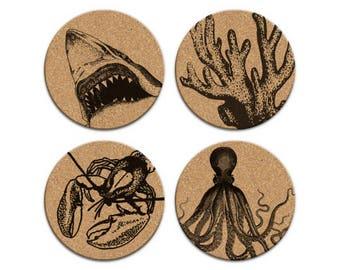SHARK OCTOPUS Nautical Coastal Cork Coaster Set Of 4 Home Decor Barware Decoration