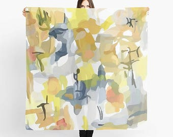 Women's Scarf, Art Scarf, Summer Scarf, Square Scarf, Lightweight Scarf, Abstract Scarf, Watercolor Scarf, Chiffon Scarf, Yellow And Gray