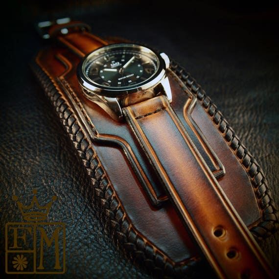 Leather cuff watch Tobacco sunburst wide layered laced edge Brown watch band cuff Bracelet  Handmade for YOU in NYC by Freddie Matara