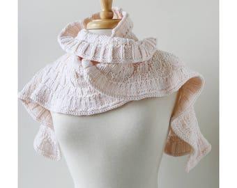 IVORY Rococo Petite Merino Wool Hand Knit Shawlette, Women's, Scarf, Ruffle, Hygge, Wool, Bride, Wedding, Wrap, Collar, Warm, Winter