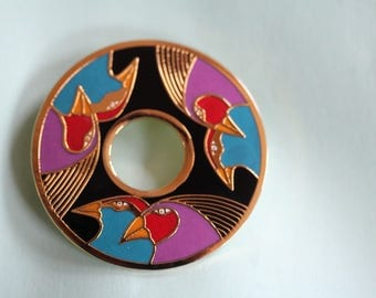 vintage Laurel Burch BIRDS OF SANTORINI pin / brooch