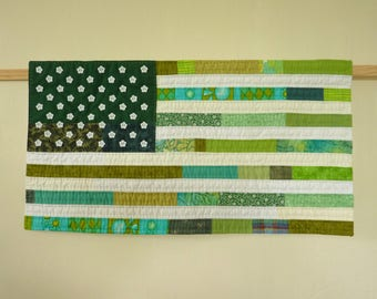 Green America #2 Wall Hanging - handmade patchwork textile art flag