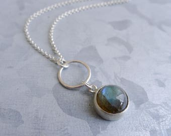 Simple Blue Grey Labradorite Gemstone Necklace on Sterling Silver Chain