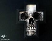 Skull - Original Drawing - Cross Dark Art Horror Bones Skeleton Gothic Teeth Macabre Anatomy Death Taxidermy Lowbrow Funeral Skulls Scary