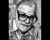 "Print 8x10"" - George Romero - Director Zombie Apacolypse Night of the Living Dead Horror Gore Zombies Flesh Gothic Glasses Beard Pop Dark"