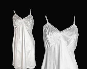 Vintage Full White Nylon Slip, 1950's, Vanity Fair, Medium