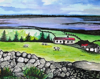 Handmade, Irish Watercolor, Ireland Print, Ring Of Kerry, Irish Cottage, Irish Stone Walls, Irish Rolling Hills, Irish Sheep, Water, Green