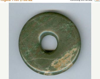 CLEARANCE 45mm Green Cream Jasper Gemstone PI Donut Focal Pendant Doughnut 1012B