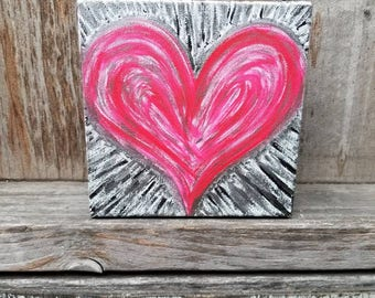 "Radiant Heart 6"" x 6"" Red, Silver, and Black Acrylic Painting - FREE SHIPPING"