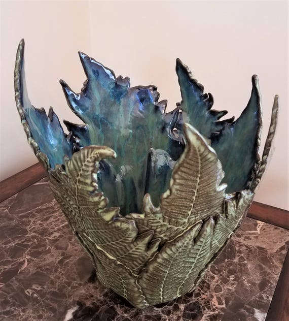 Fern Pottery - Dinning Room Centerpiece - Candle Holder - Nature Pottery - Centerpiece - Woodland Pottery - Leaf Pottery - Large Fern Vase