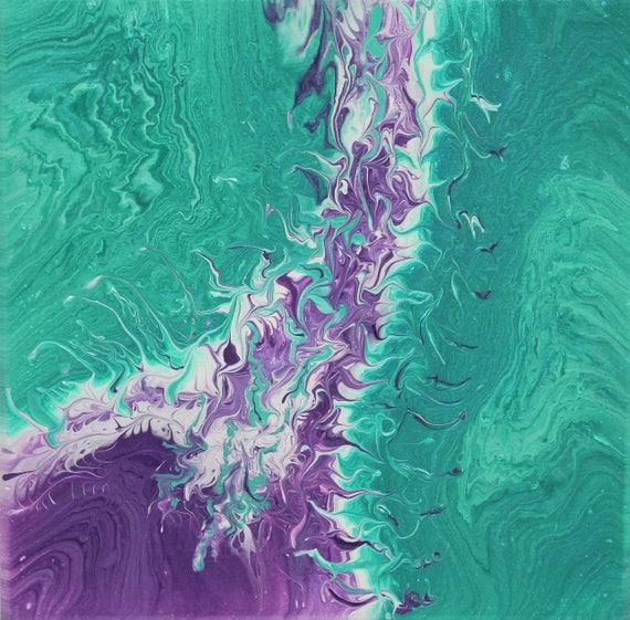 Fluid Art - Acrylic Flow Art - Acrylic Pour - Abstract Art - 12 x 12 - Wall Art - Modern Art - Fluid Painting - Contemporary Art - Green