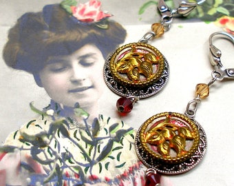 """Antique ROSE BUTTON earrings, Victorian flowers in gold & red on silver. 2"""""""