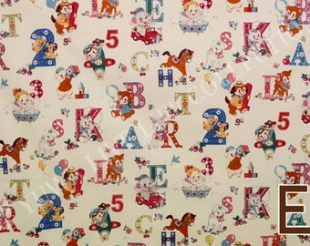 HALF YARD Yuwa - Happy Baby on Ivory White- Atsuko Matsuyama 822366-E - Cute Animals and Alphabet Letters - Japanese Fabric