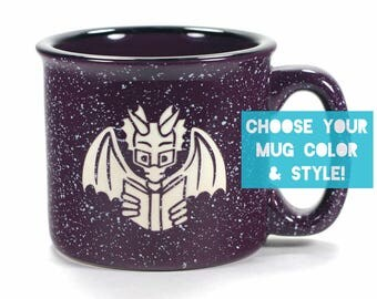 Book Dragon Reading Mug - Choose Your Cup Color