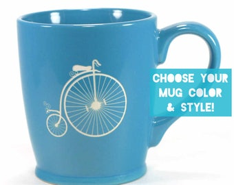 Penny Farthing Bicycle Mug - Choose Your Cup Color