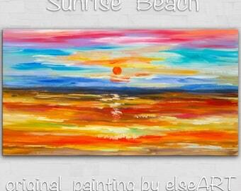 Art, Painting, Sunrise Sea Wave,  Acrylic art Oil Painting Original Beach landscape art Wall art Modern art by tim Lam 48x24