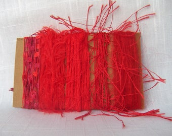 Art Yarn Bundle Bright Red Fiber Art Supplies 1589