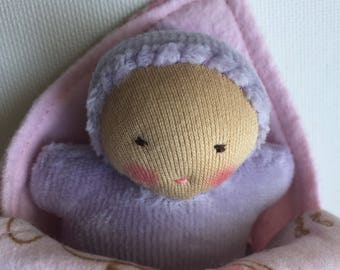 lavender baby, waldorf dolls, small doll, germandolls, swaddling blanket, baby shower gift, big sister gift