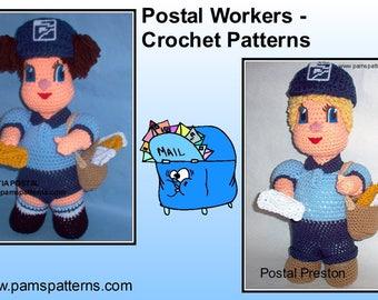 Postal Workers Crochet Patterns, crochet dolls, post office dolls, crochet letters