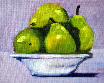 Little Still Life, Oil Painting, Original 4x5, Canvas, Kitchen Wall Decor, Green Pears, Tiny Fruit, Lavender, White Bowl, Food