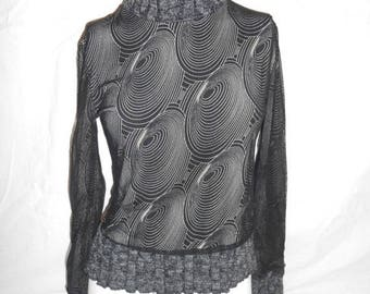 Closing Shop 40%off SALE 90's Stretch micromesh  sheer  shirt blouse  sweater