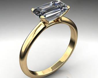 penelope ring – 1.8 carat elongated emerald cut ZAYA moissanite engagement ring, east west ring