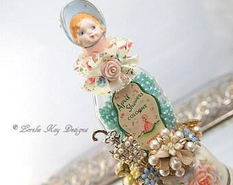 April Showers Art Doll Perfume Bottle Assemblage Teacup Art Doll Sculpture Miniature Art Altered Bottle