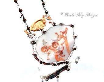 Romantic Angels Cherub Necklace Broken China Assemblage Necklace Pink Cherubs Lorelie Kay Original