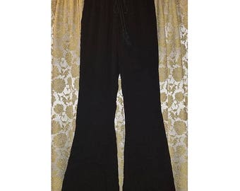 30% OFF Black Palazzo Bell Bottom Flared Leg Pants Small, Witchy Gypsy Hippie
