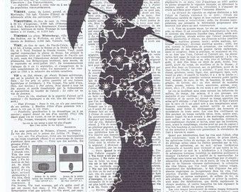 Geisha Girl.Japanese.Silhouette.Birthday Gift,Antique Book Page Print.buy 3 get 1 FREE.oriental.asian.japanese.kimono.parasol.pretty picture