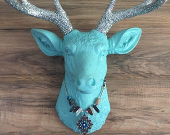 Stevie Necklace Teal&Pink Crystal and Raw Stone Mixed Media Statement Necklace