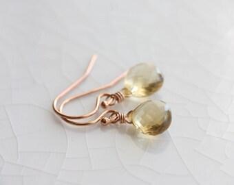 Citrine earrings - rose gold dangle earrings with small citrine briolettes - November birthstone - citrine jewelry - rose gold jewelry