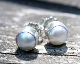 Freshwater pearl sterling silver stud earrings 10mm