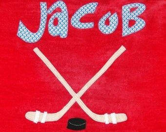 Personalized Large Red Velour Beach Towel with Hockey Theme,Pool Towel,Kids Bath Towel,Camp Towel,College Towel,Hockey Gift,Kids Hockey Gift