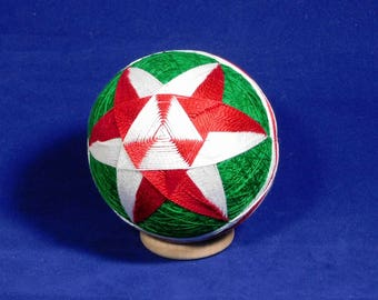 Rattling Temari Ball Ornament Red and White on Green Home Decor Christmas