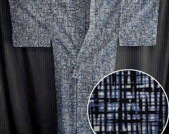 Vintage Japanese Yukata Kimono Robe Man's Summer Cotton - Criss Cross