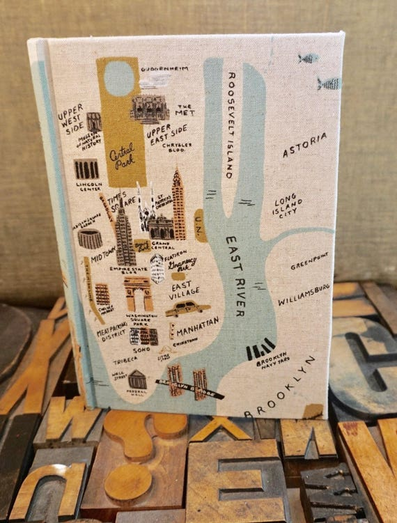 Fabric Covered Journal - Large Lined with New York Travel Theme