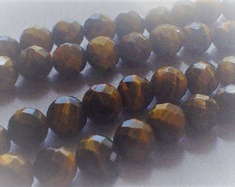 natural gemstone gold and brown bands tiger eye facet round bead 12 mm / 15 inch
