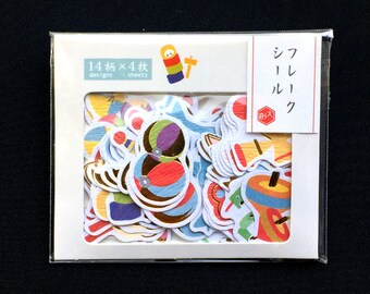 Traditional Japanese Toy Stickers - Chiyogami Paper Stickers - Japanese Stickers - Sticker Flakes   (S285)