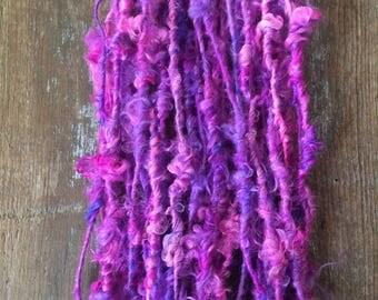 Flash and Dazzle, handspun art yarn, curly art yarn, lockspun chunky yarn, 38 yards, mohair yarn,  bulky yarn